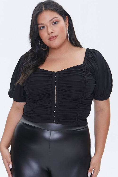 Plus Size Hook-and-Eye Crop Top, image 1