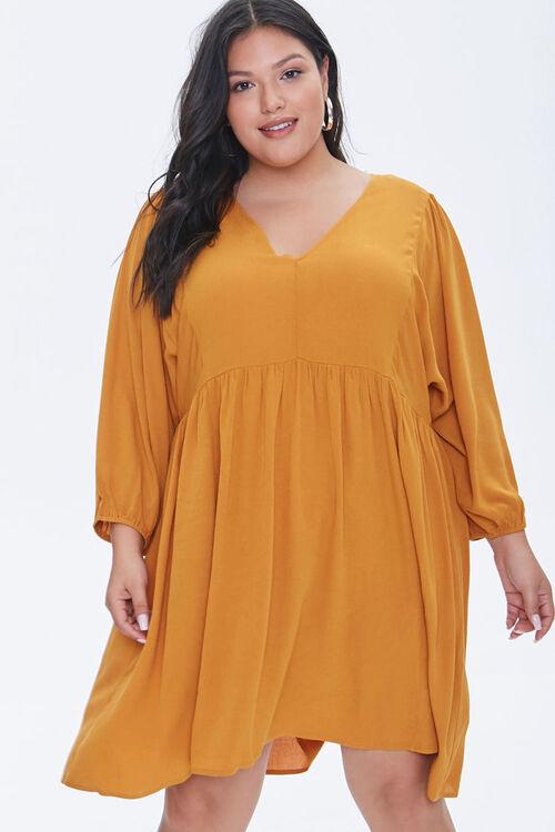 Plus Size Peasant-Sleeve Mini Dress, image 1