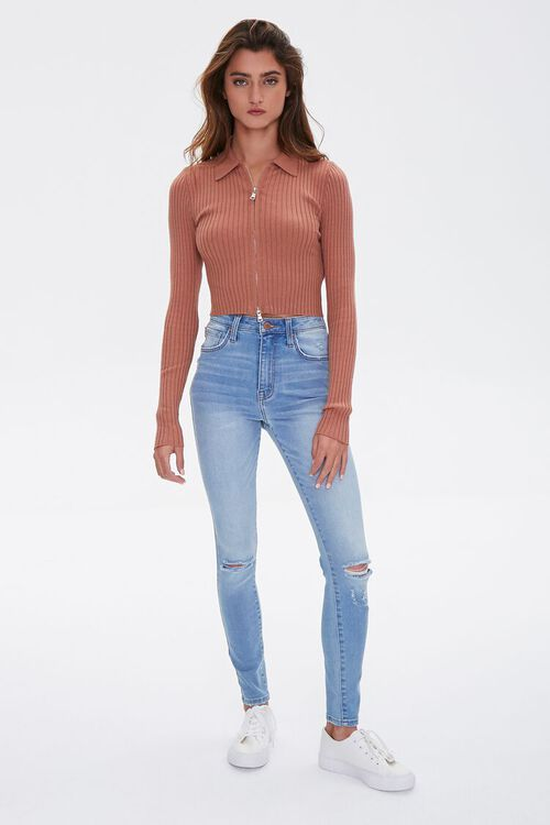 Zip-Front Cropped Sweater, image 4
