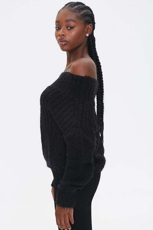 Fuzzy Knit Off-the-Shoulder Sweater, image 2