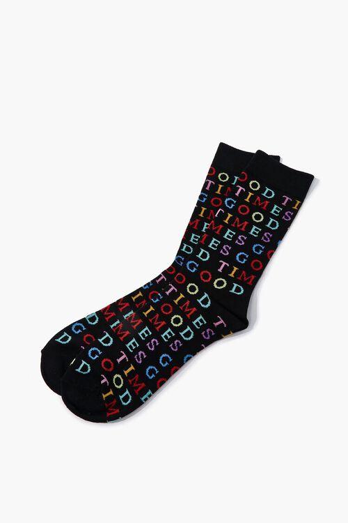 BLACK/MULTI Men Good Times Print Crew Socks, image 2