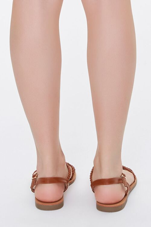 TAN Braided Faux Leather Sandals, image 3