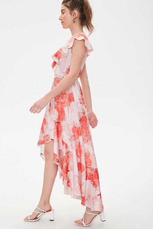 Satin Floral High-Low Wrap Dress, image 2
