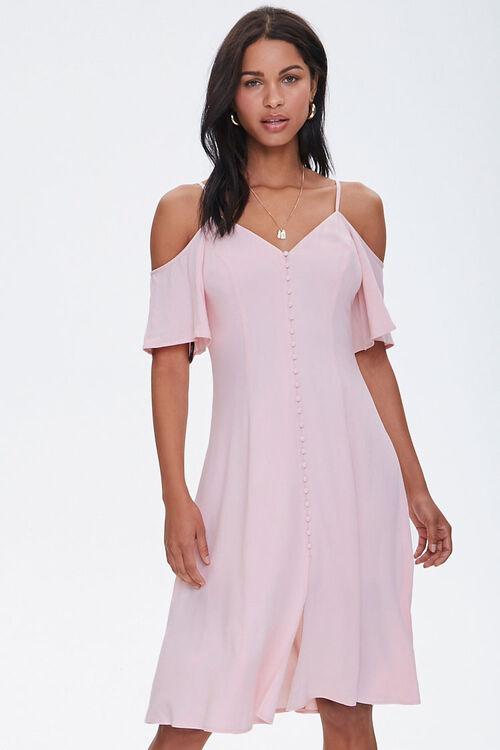 Buttoned Open-Shoulder Dress, image 1