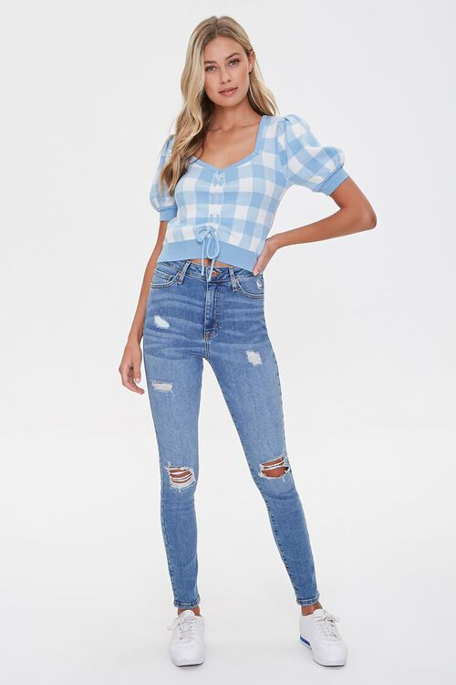 Sweater-Knit Plaid Top, image 4