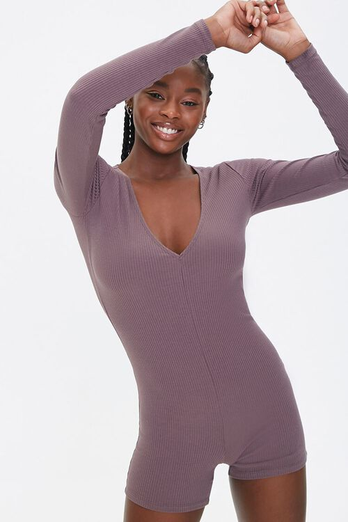 Ribbed Knit Long-Sleeve Romper, image 1