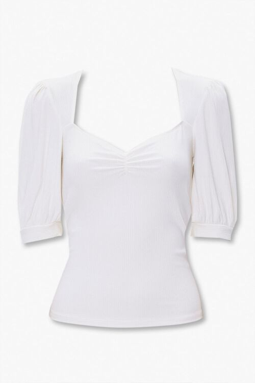 Ribbed Knit Ruched Top, image 1