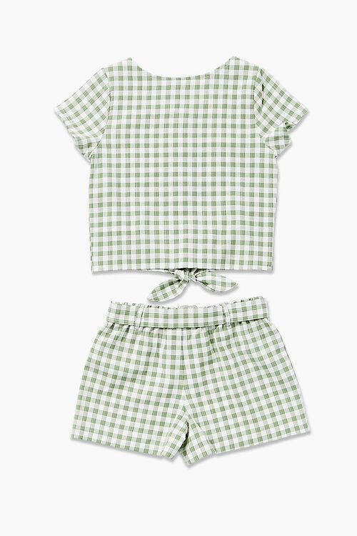 Gingham Knotted Top & Shorts Set, image 2