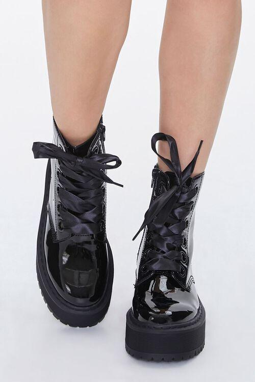 Faux Patent Leather Platform Ankle Boots, image 4