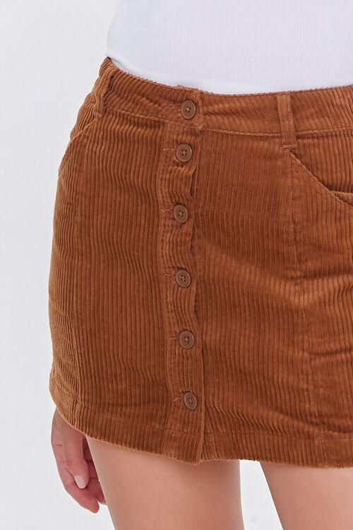 Corduroy Button-Front Mini Skirt, image 5