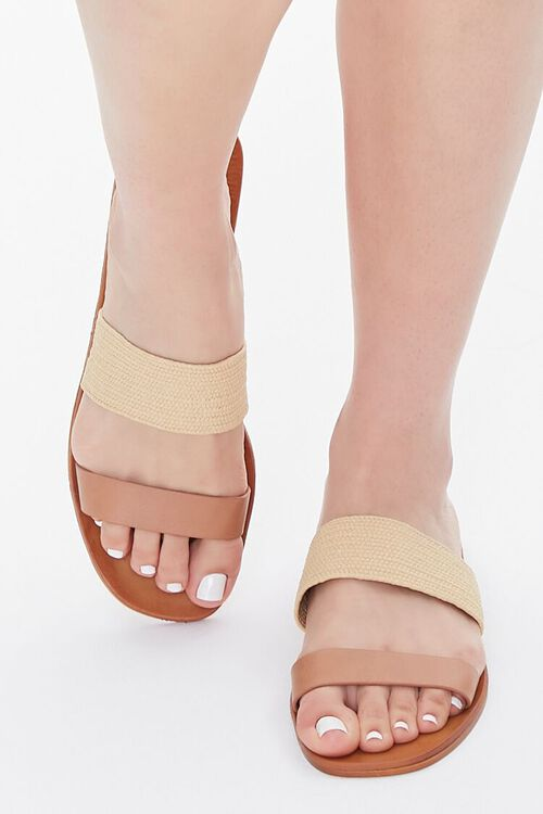 Faux Straw Basketwoven Flat Sandals, image 4