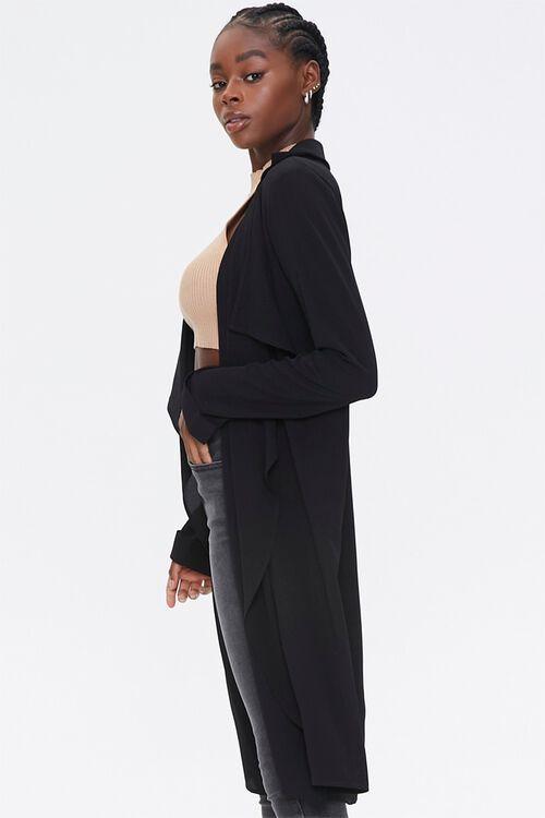BLACK Crepe Drape-Front Trench Jacket, image 2
