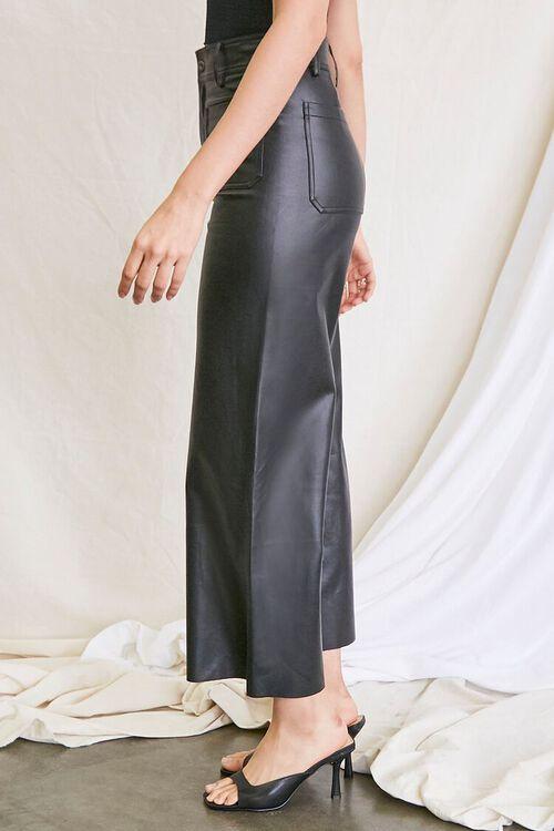BLACK Faux Leather Wide-Leg Pants, image 3