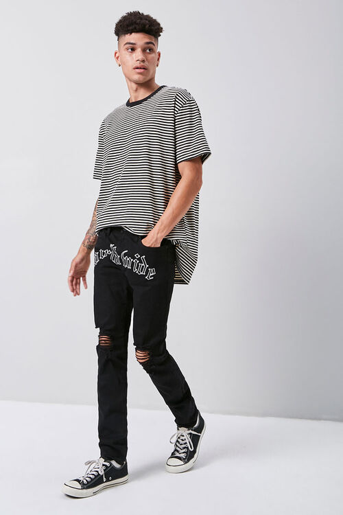 Embroidered Graphic Skinny Jeans, image 1