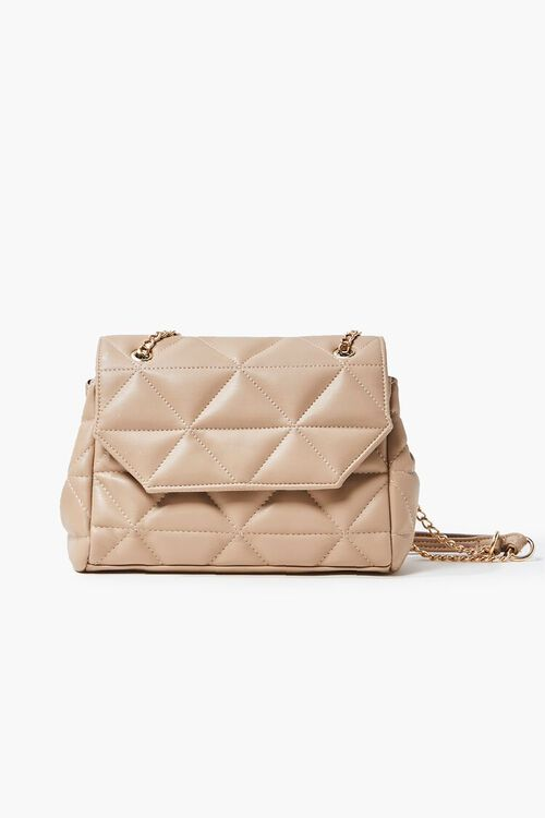 TAUPE Quilted Faux Leather Crossbody Bag, image 1