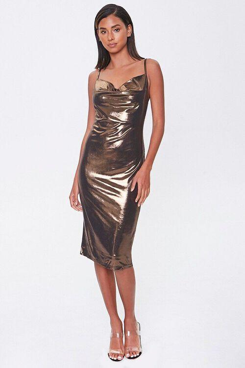 Metallic Cowl Neck Dress, image 4