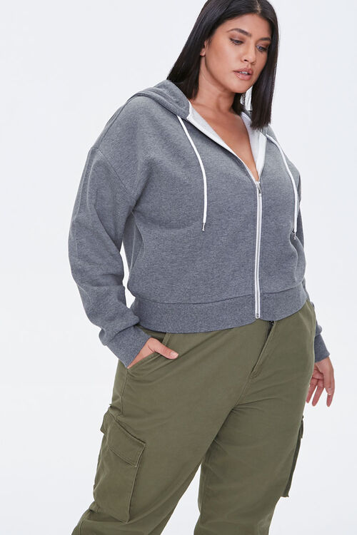 Plus Size Fleece Zip-Up Hoodie, image 1