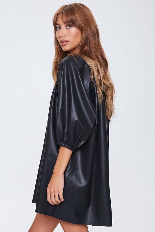 Faux Leather Shift Dress, image 2
