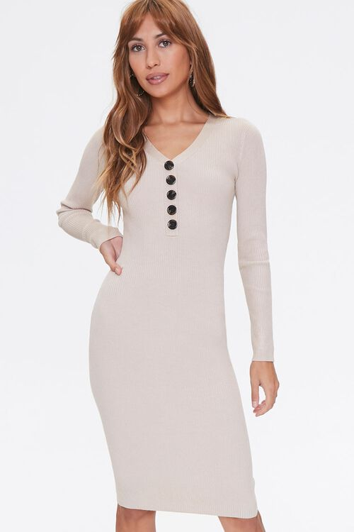 Ribbed Sweater-Knit Dress, image 1