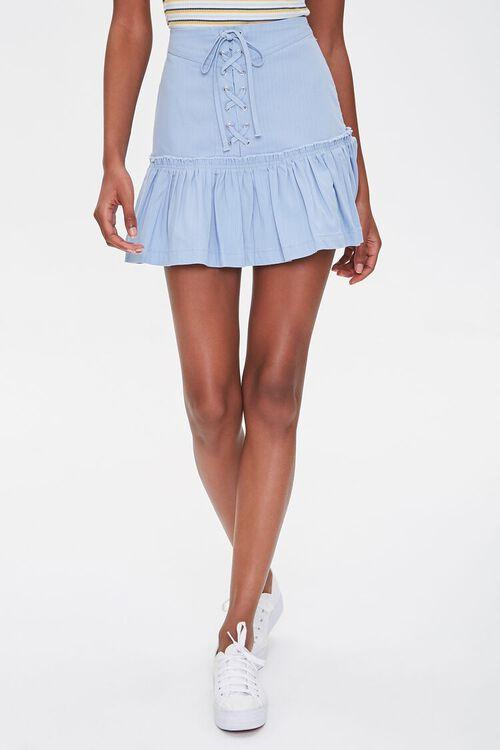 Lace-Up Flounce-Trim Skirt, image 2