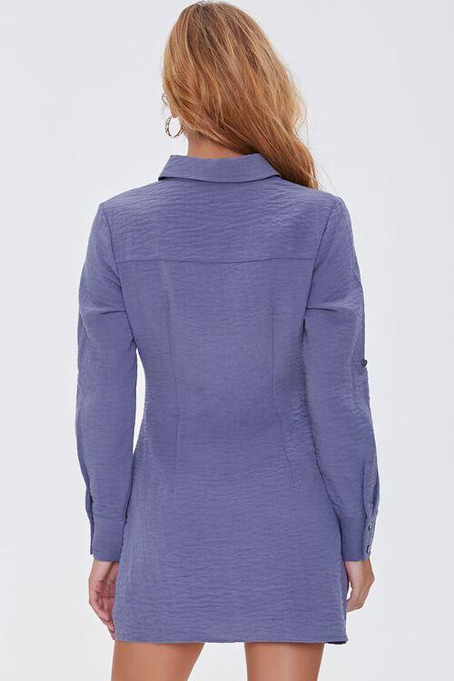 BLUE Ruched Mini Shirt Dress, image 3