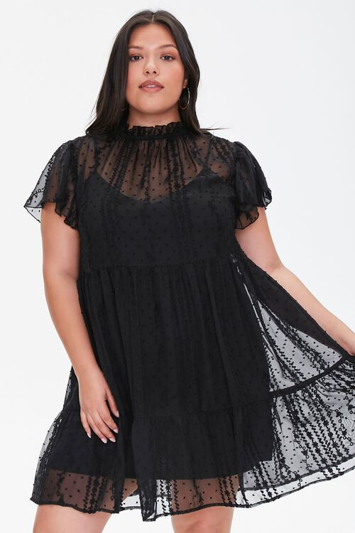 Plus Size Ruffle-Trim Lace Dress, image 1