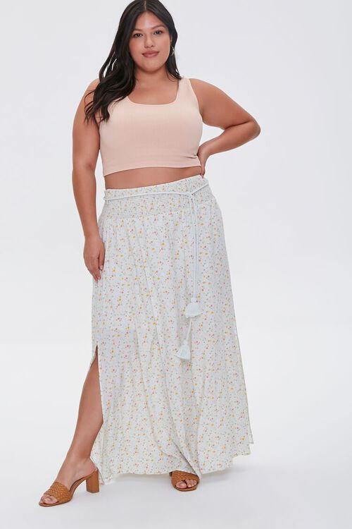 MINT/MULTI Plus Size Floral M-Slit Skirt, image 6