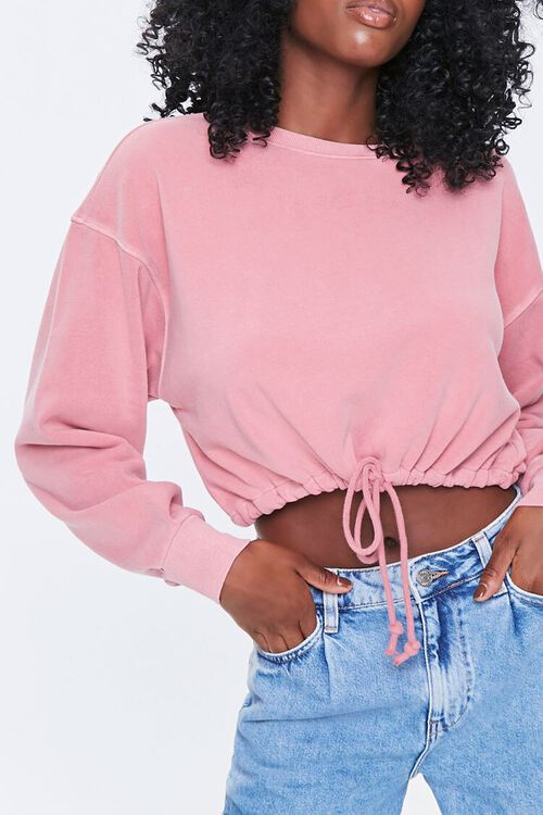 Boxy Self-Tie Drawstring Sweatshirt, image 1