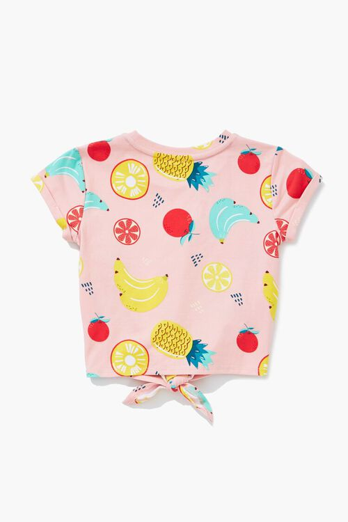 Girls Fruit Print Knotted Tee (Kids), image 2