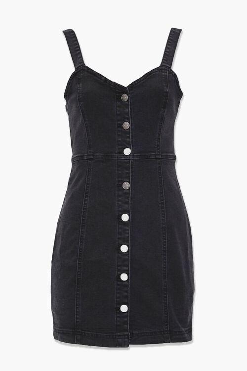 WASHED BLACK Denim Button-Down Dress, image 1