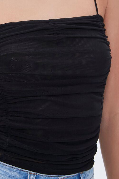 BLACK Ruched Mesh Cropped Cami, image 5