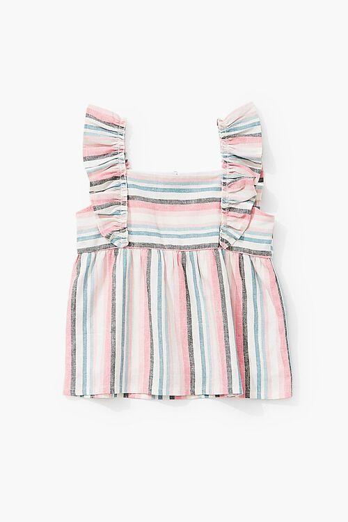 Girls Striped Linen-Blend Top (Kids), image 3