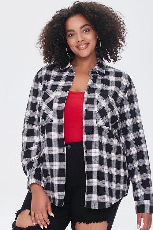 Plus Size Dual-Pocket Flannel Plaid Shirt, image 5