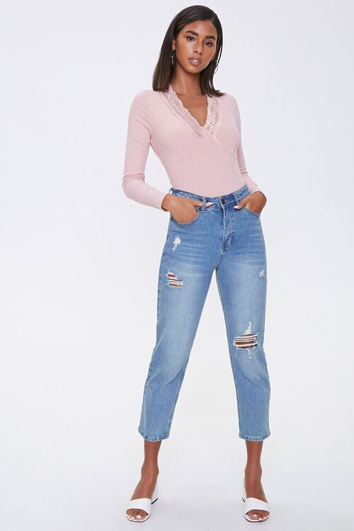 Lace-Trim Ribbed Bodysuit, image 4