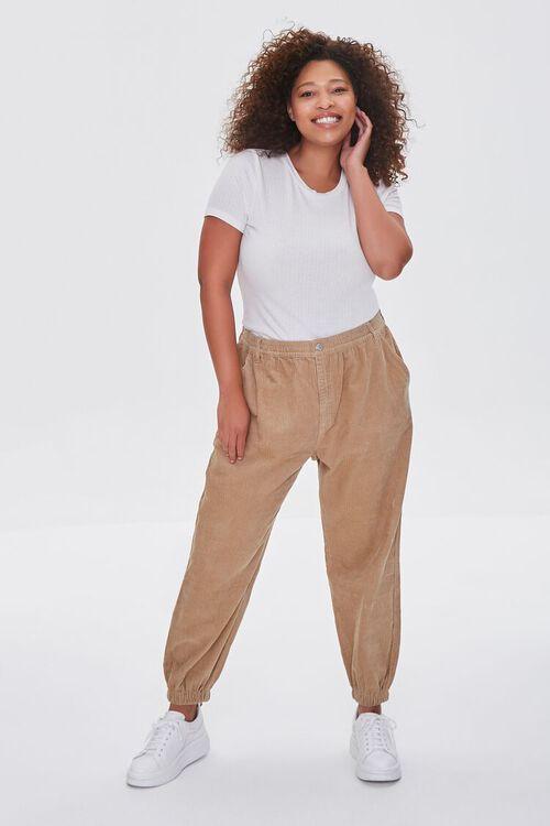 KHAKI Plus Size Corduroy Pocket Joggers, image 1