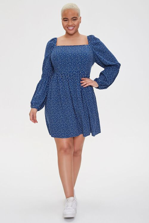 NAVY/CREAM Plus Size Pin Dot Fit & Flare Dress, image 4
