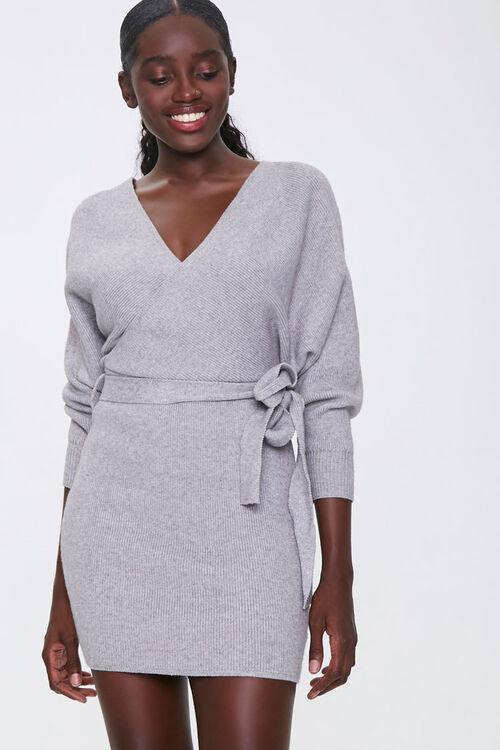 Ribbed Wrap Mini Dress, image 1
