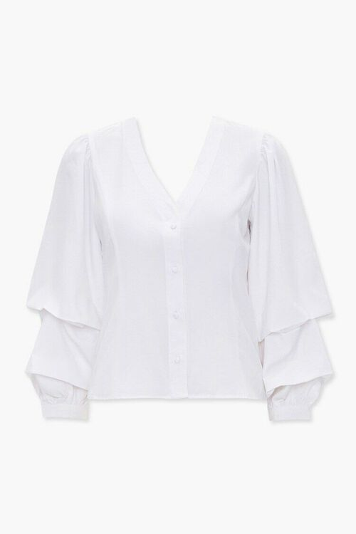 Buttoned Gathered-Sleeve Top, image 1
