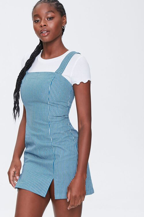 Striped Pinafore Dress, image 1