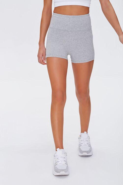 Active Heathered Biker Shorts, image 2