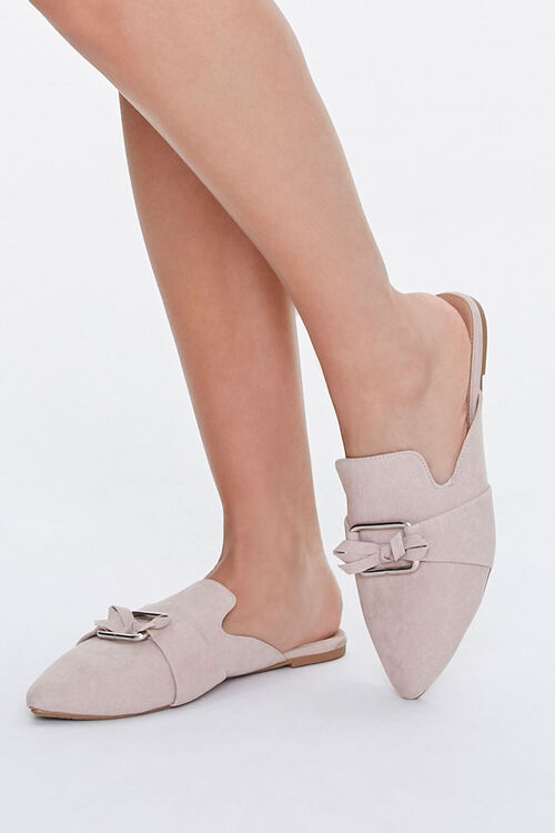 Faux Suede Pointed Mules, image 1