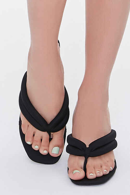 BLACK Quilted Thong-Toe Heels, image 4