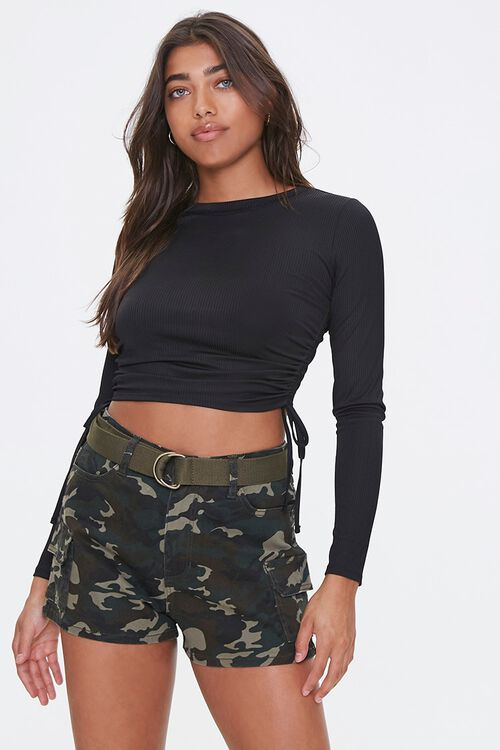 Belted Camo Print Shorts, image 1