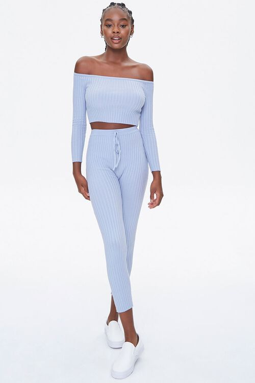 DUSTY BLUE Ribbed Off-the-Shoulder Crop Top, image 4