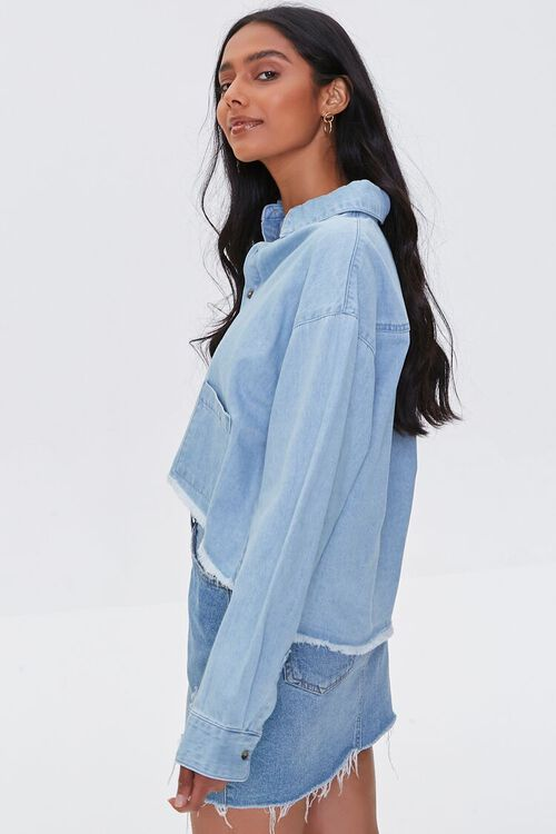 Frayed High-Low Denim Shirt, image 3