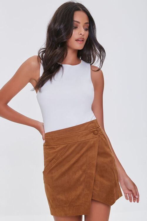 CAMEL Faux Suede Wrap-Front Skirt, image 1