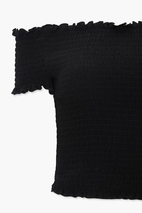 BLACK Smocked Off-the-Shoulder Crop Top, image 3