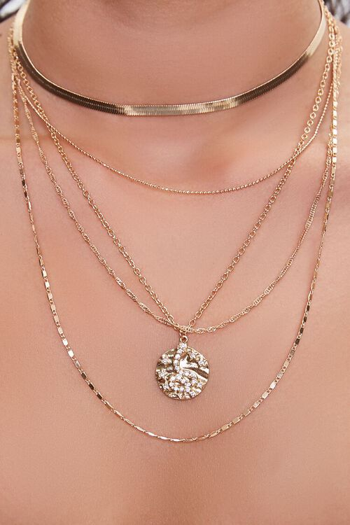 GOLD Snake Charm Layered Necklace, image 1