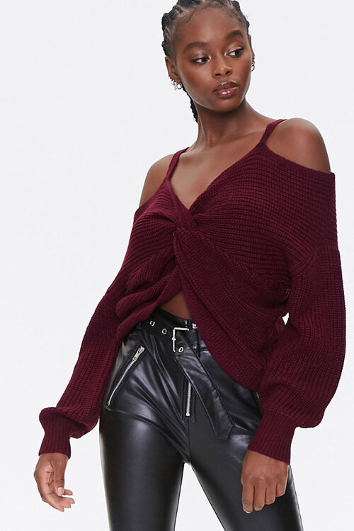 Ribbed Twist-Front Sweater, image 1