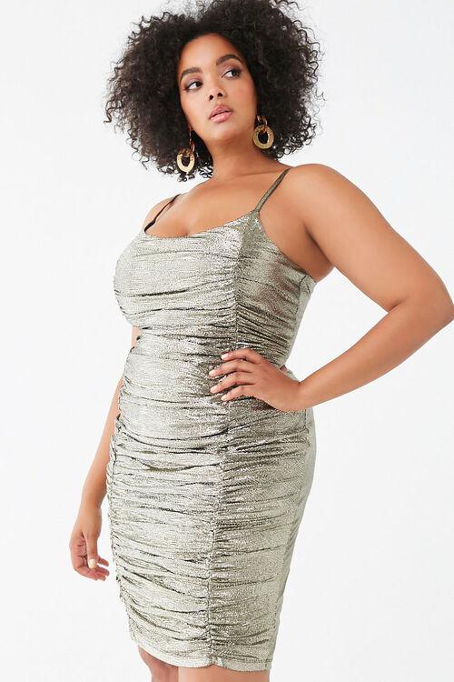 Plus Size Metallic Pin Dot Dress, image 1